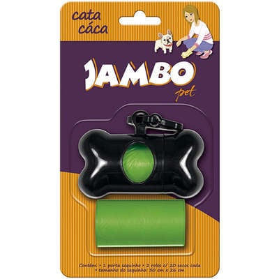 Kit Porta Cata Caca + 2 Rolos Jambo Basic para Cães - Verde